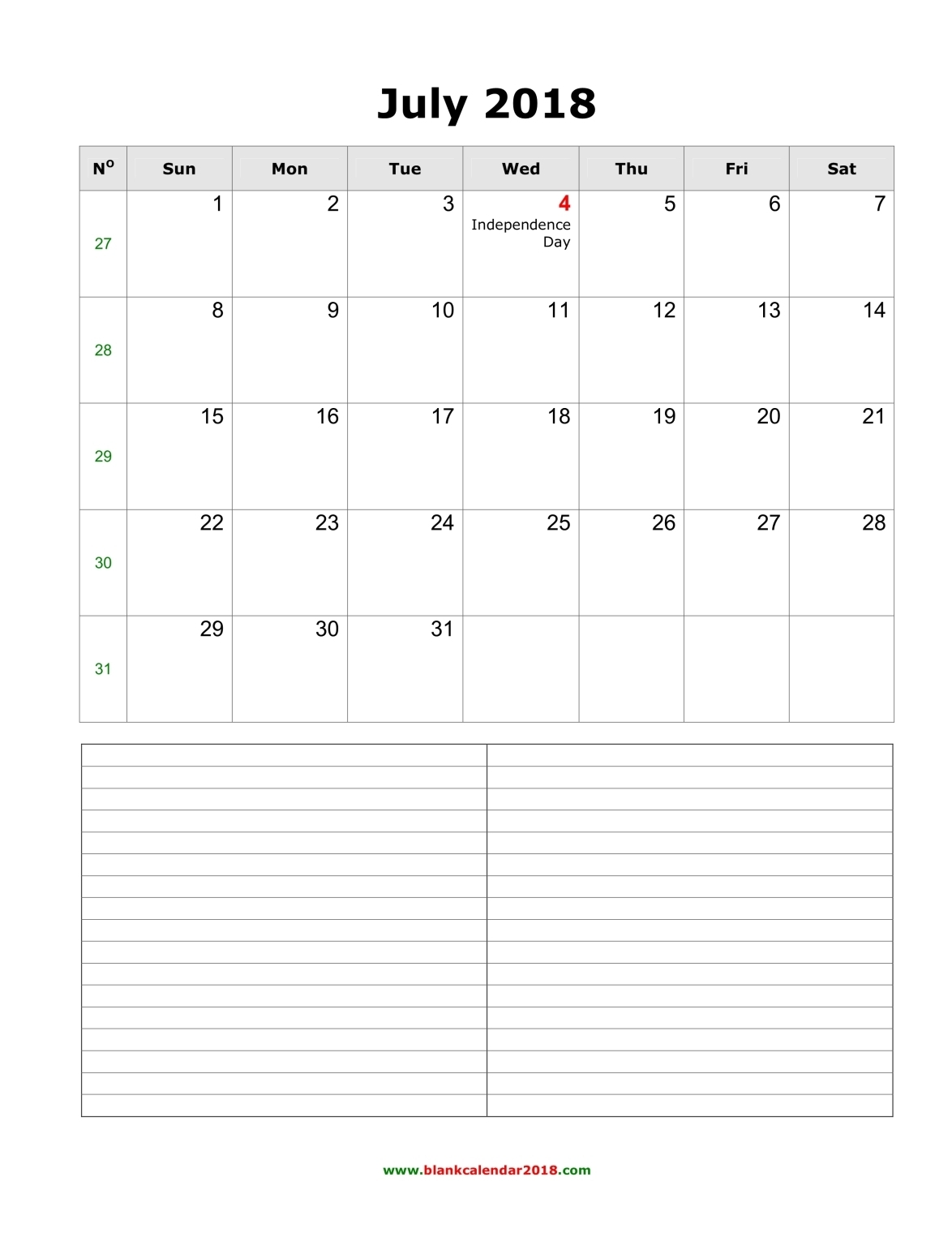 blank calendar with notes