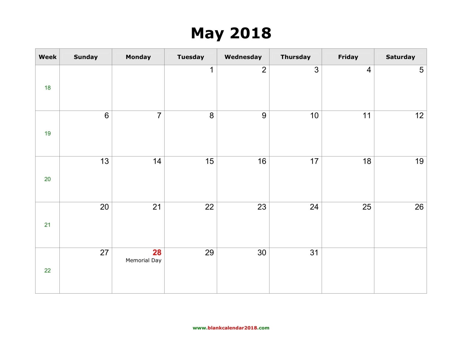 May 2018 Calendar blank holidays calendar may 2018 landscape
