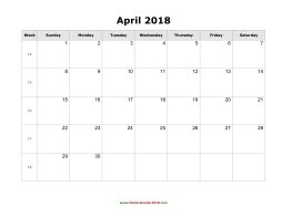blank holidays calendar april 2018 landscape