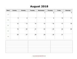 blank calendar august 2018 with notes landscape