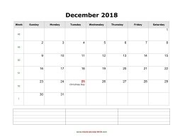 blank calendar december 2018 with notes landscape