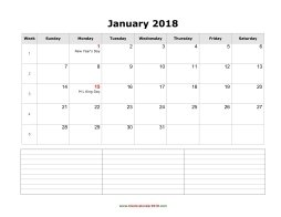 blank calendar january 2018 with notes landscape