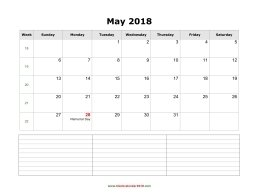 blank calendar may 2018 with notes landscape