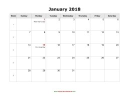 blank monthly holidays calendar 2018 landscape