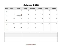 blank calendar october 2018 with notes landscape