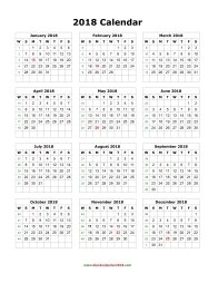 blank calendar 2018 portrait