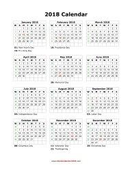 blank holidays calendar 2018 portrait