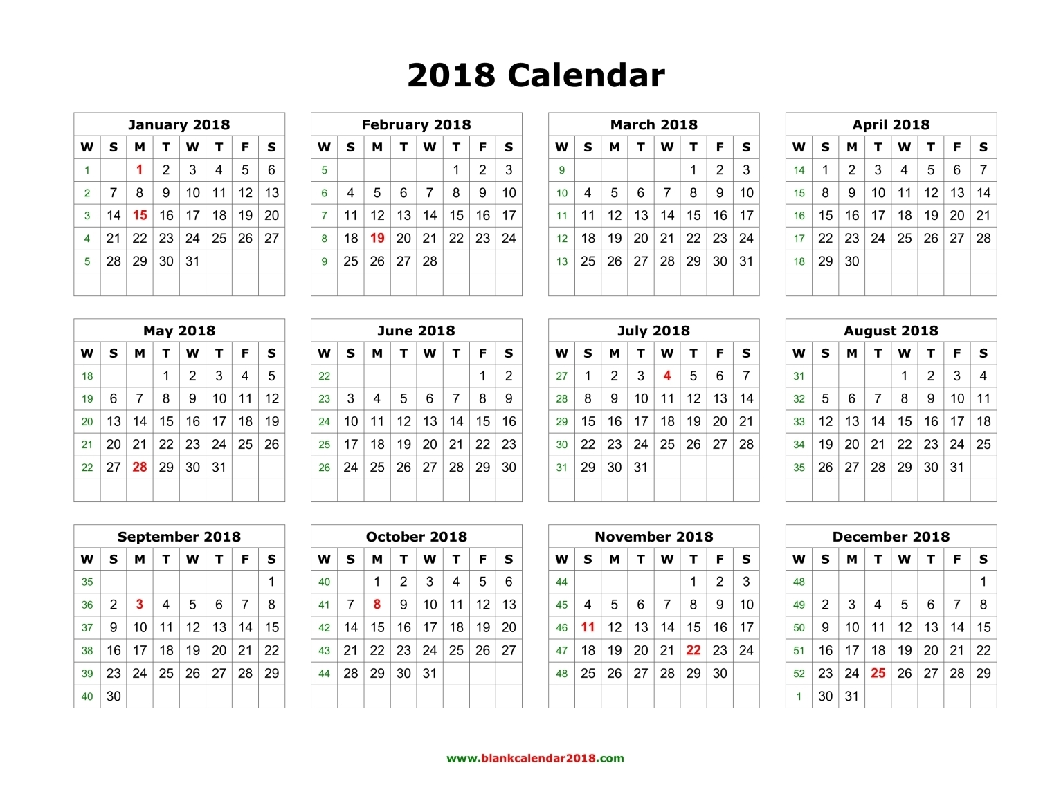 yearly calendar template 2018