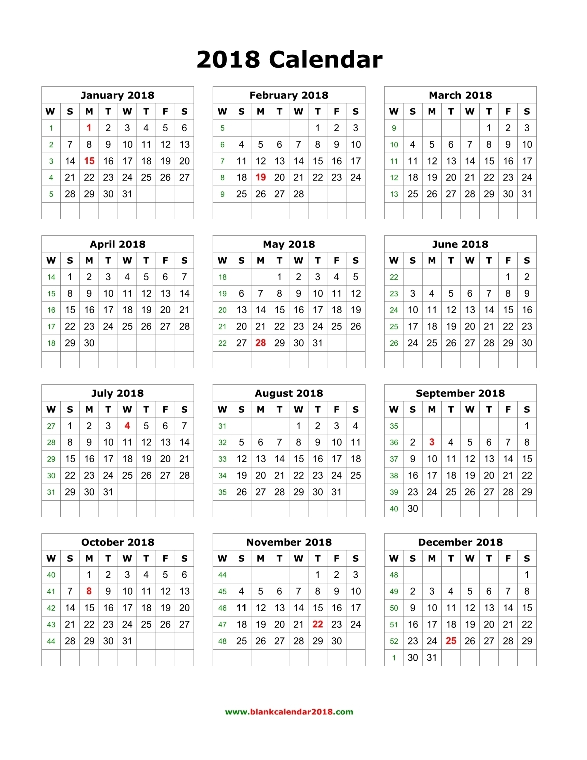 free printable calendar 2018 year   Physic.minimalistics.co