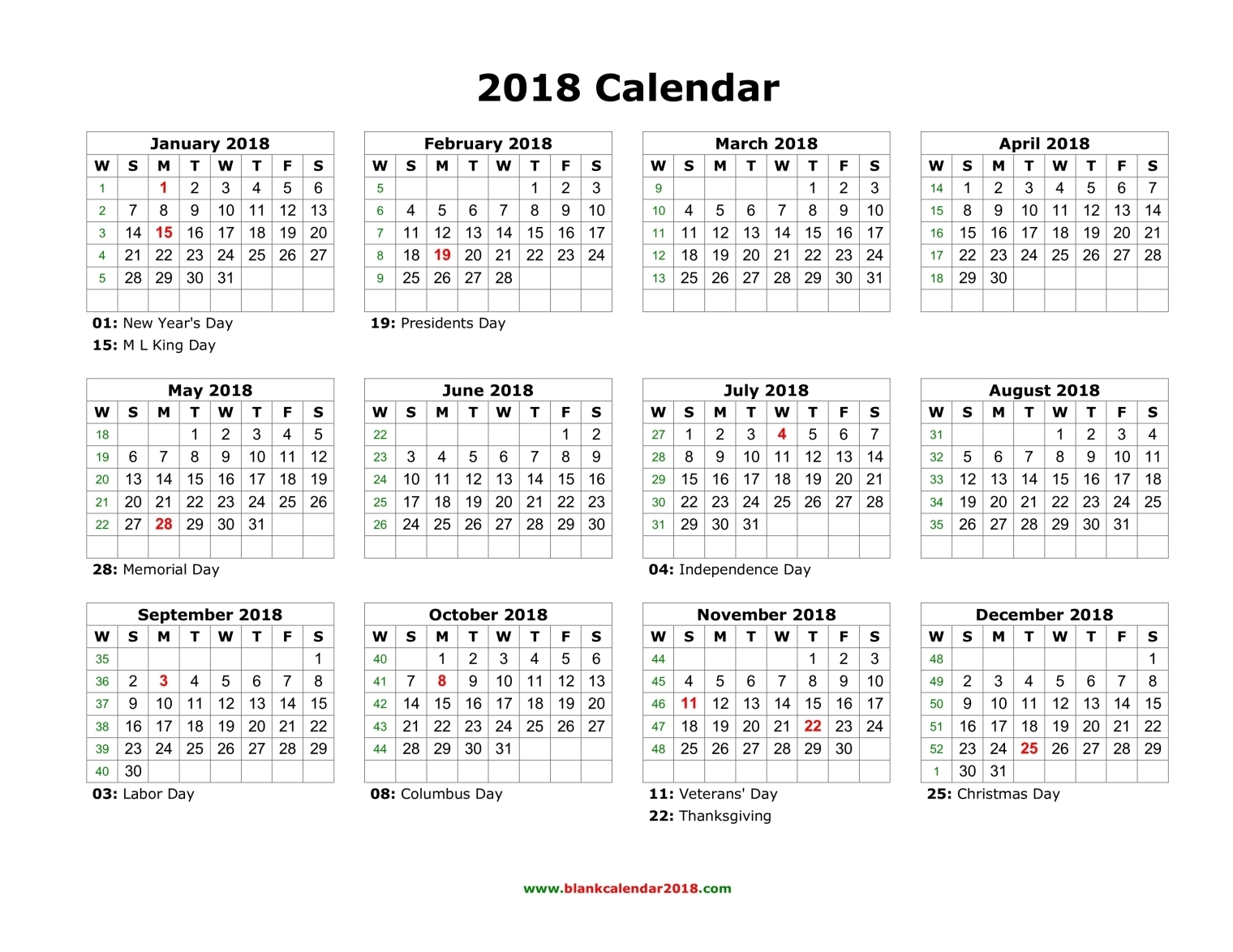 image about Calendar Printable With Holidays referred to as Blank Calendar 2018