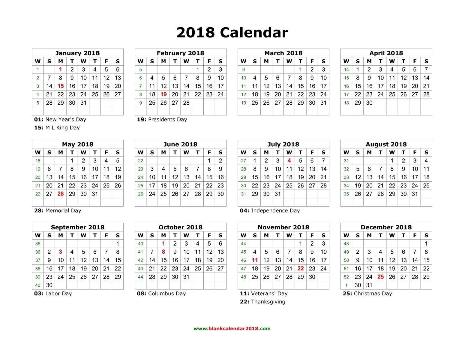 blank holidays calendar 2018 landscape