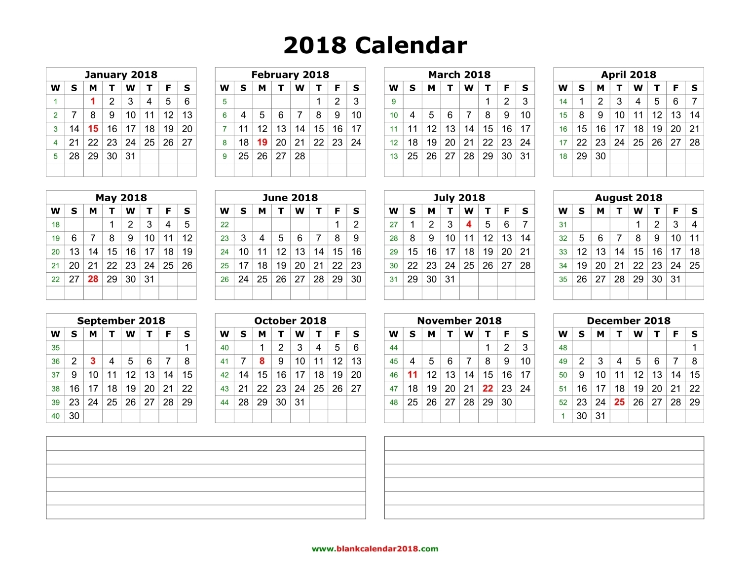 blank calendar 2018 with notes landscape