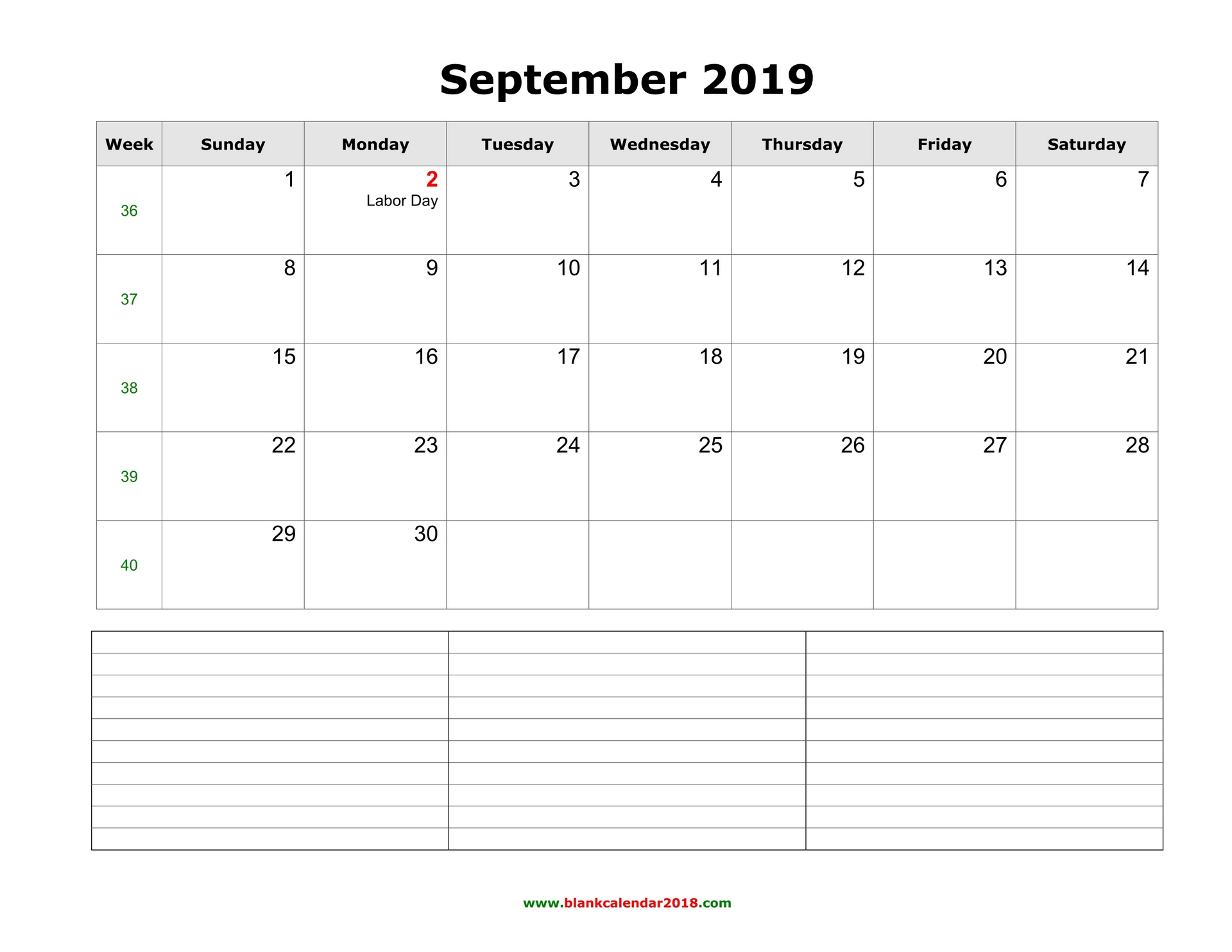 Blank Calendar September 2019 To June 2019