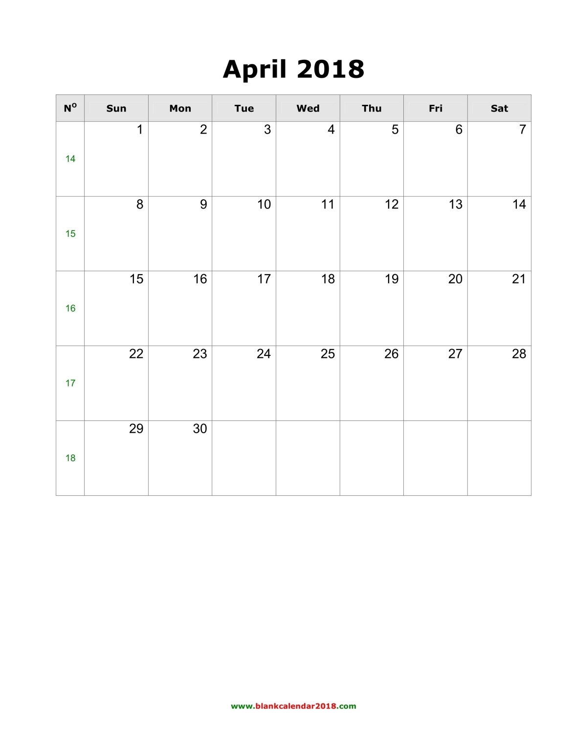 Blank Calendar for April 2018