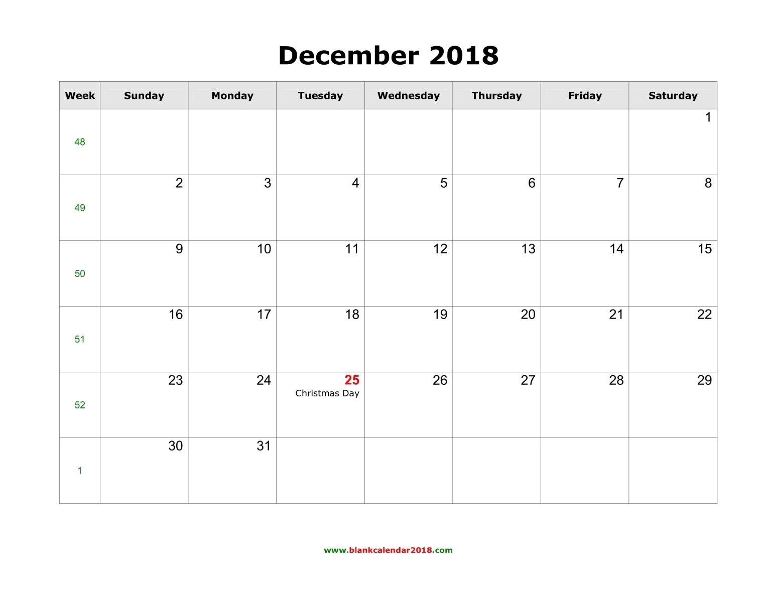 Blank Calendar For December 2018