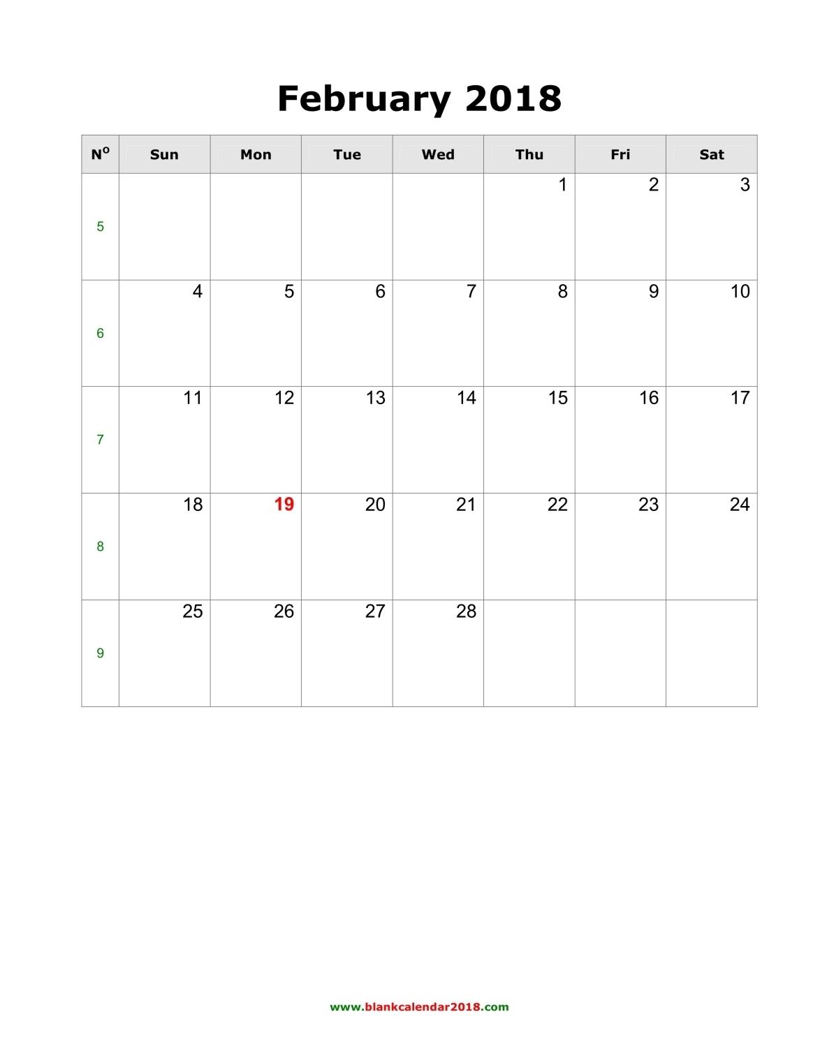 blank calendar for february 2018