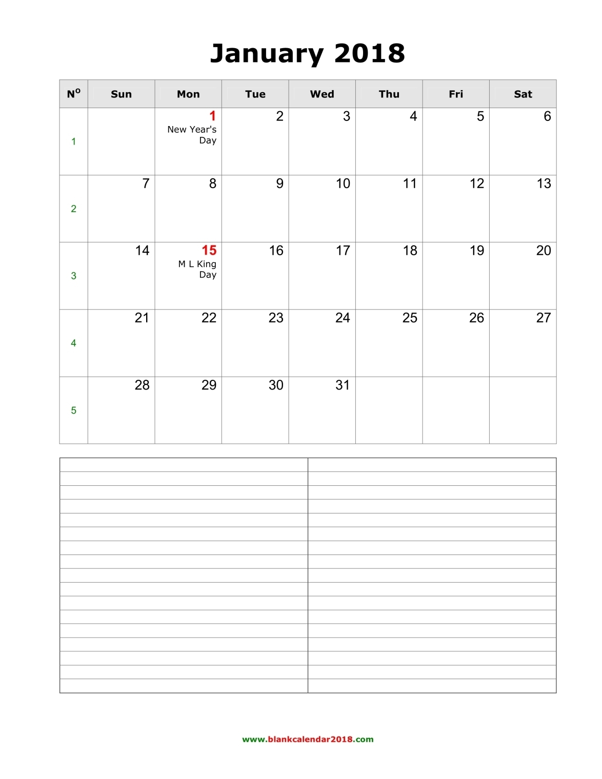 Blank Calendar for January 2018