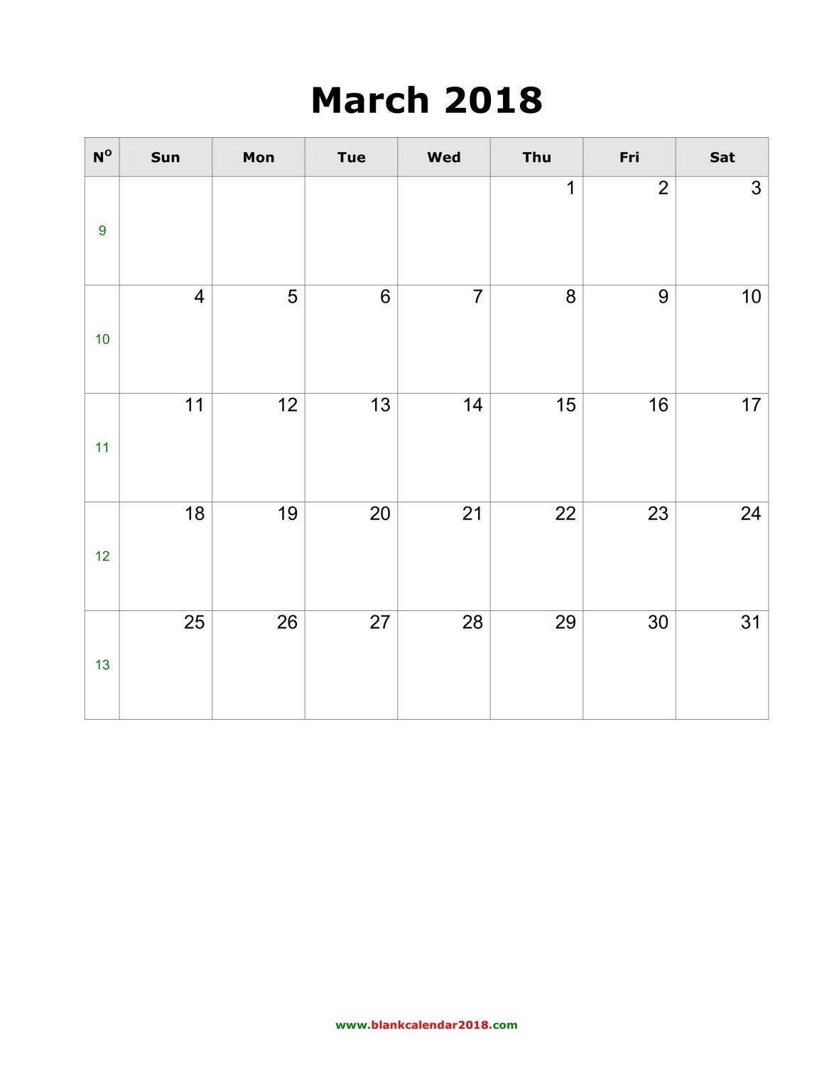 Blank 2018 Calendar | monthly printable calendar