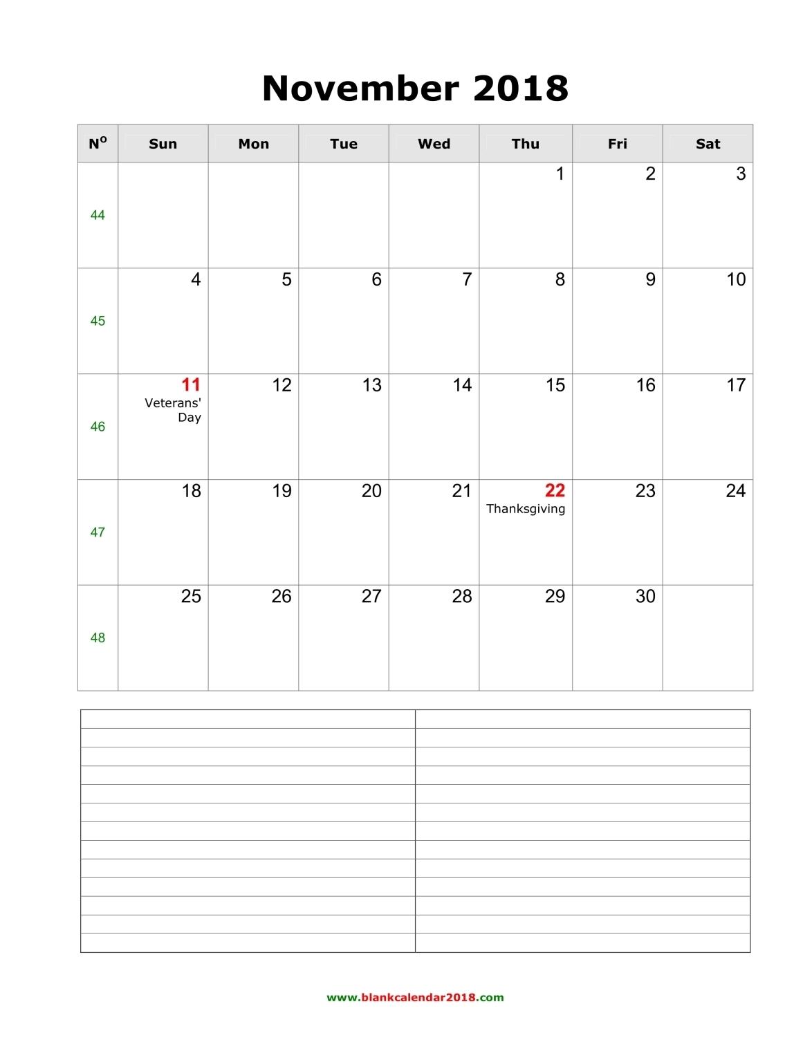 Blank Calendar With Holidays : Blank calendar for november